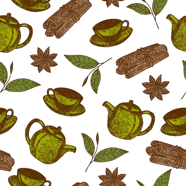 Seamless pattern with hand drawn tea culture objects with teapot, cup, cinnamon, leaf tea Free Vector