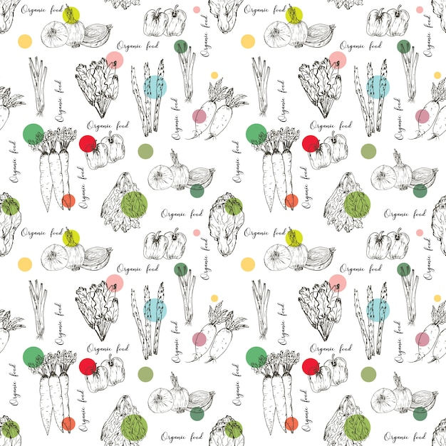 Seamless pattern with hand drawn vegetables background. organic herbs and spices, healthy food drawings pattern vector illustration. Premium Vector