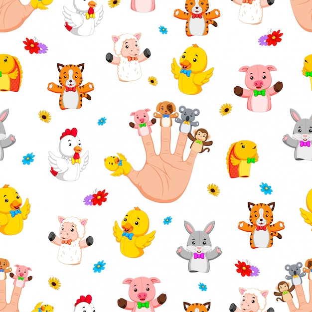 Seamless pattern with hand wearing cute finger puppets Premium Vector