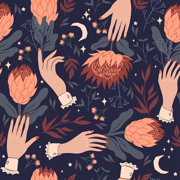 Seamless pattern with hands and protea flowers.  graphics. Premium Vector