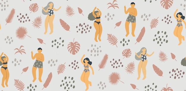 Seamless pattern with happy young people dancing in swimsuit surrounded by tropical leaves Premium Vector