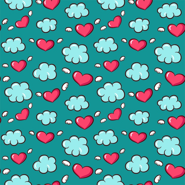 Seamless pattern with hearts and wings Premium Vector