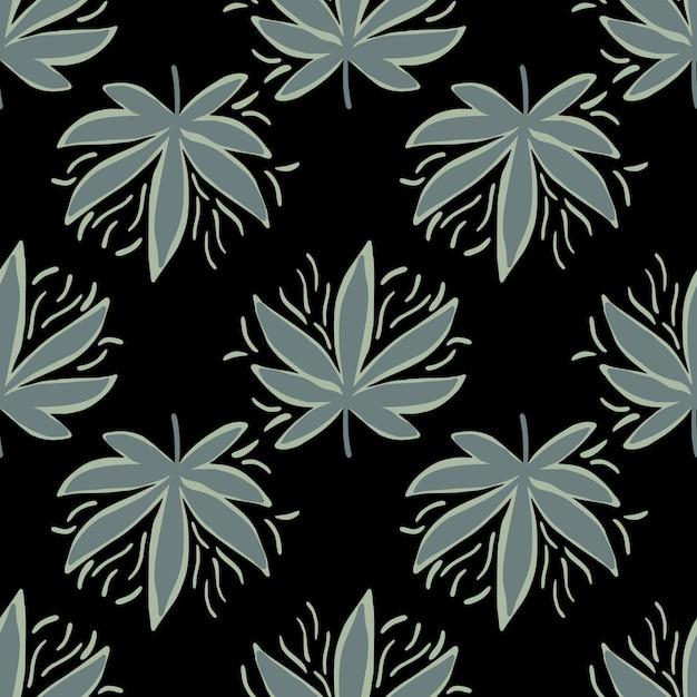 麻とのシームレスなパターンは暗い色調で残します。 Premiumベクター