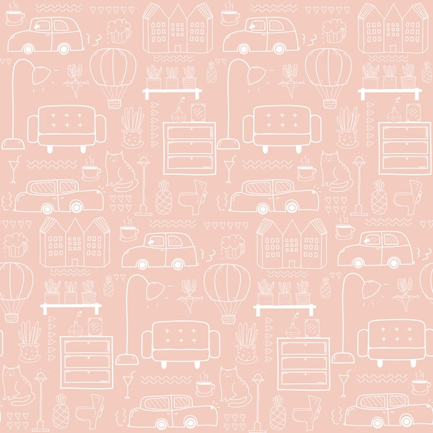 Seamless pattern with home furniture Premium Vector