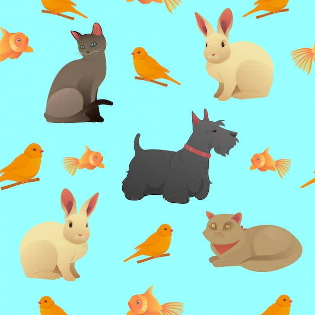 Seamless pattern with home pets - cats, dog and rabbit Premium Vector