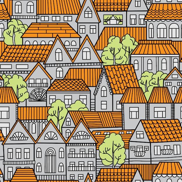 家と木とのシームレスなパターン。ベクトルイラスト Premiumベクター