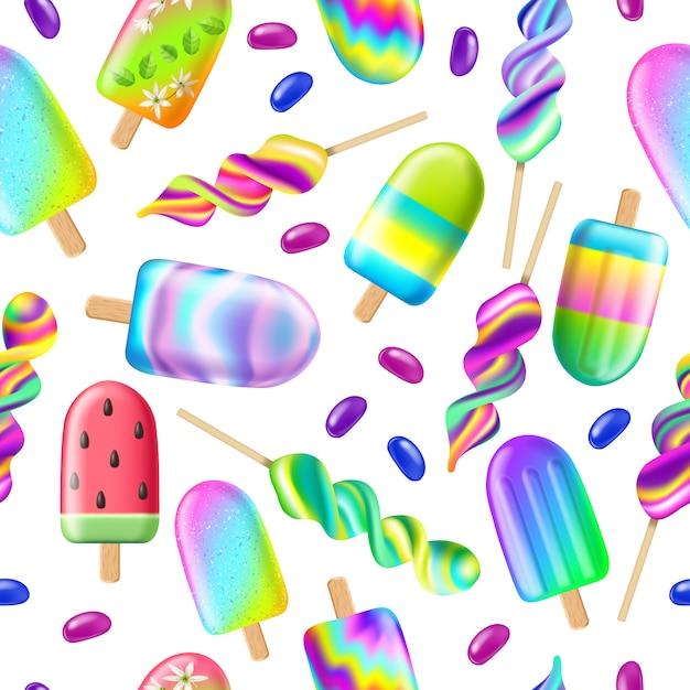 アイスクリームとのシームレスなパターン。夏のコンセプト 無料ベクター
