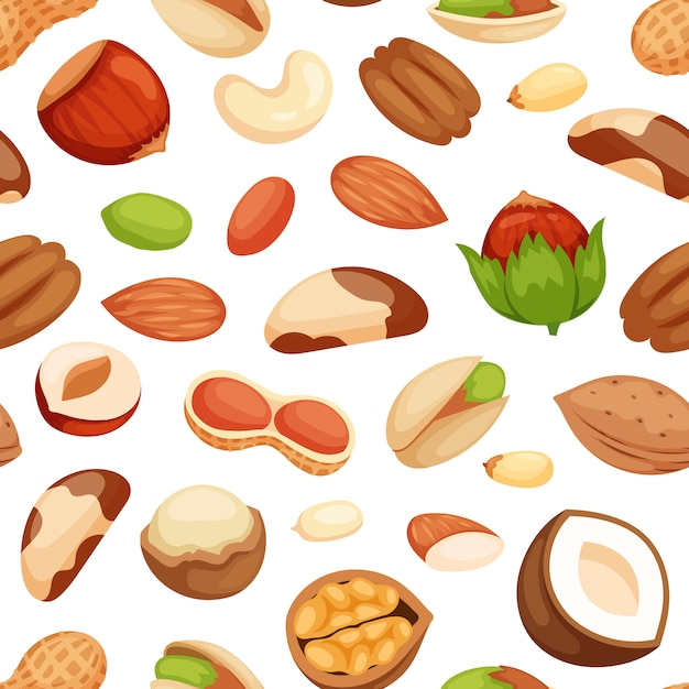 Seamless pattern with illustrations of nuts. Premium Vector