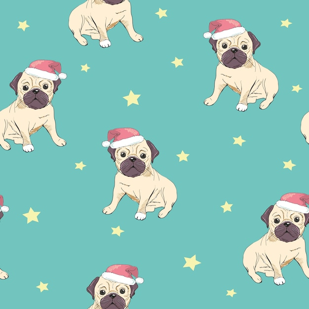 Seamless pattern with image of a funny cartoon pugs puppies Premium Vector