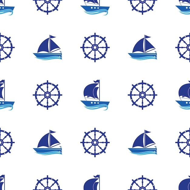 Seamless pattern with the image of yachts, anchor, steering wheel. Premium Vector