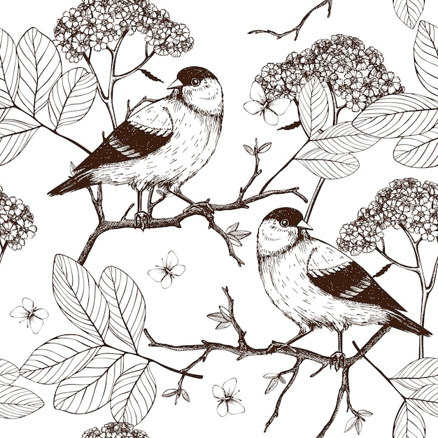 Seamless  pattern with ink hand drawn birds on blooming  tree twigs. vintage sketch background  on white Premium Vector