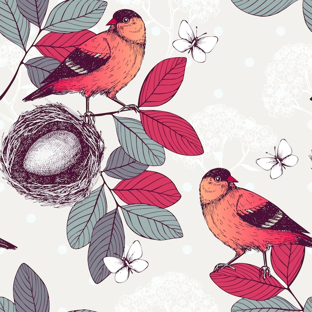 Seamless  pattern with ink hand drawn birds on tree twigs. vintage sketch background with of red birds. Premium Vector