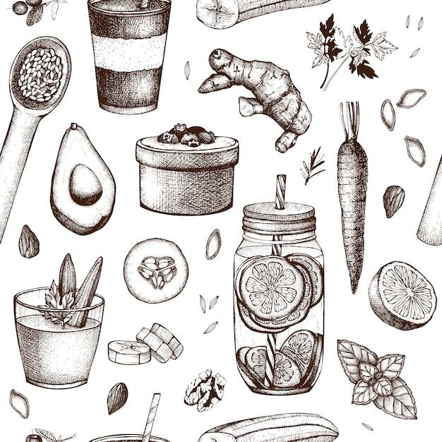 Бесшовные с чернилами рисованной пищи и напитков эскизы. здоровая пища - фрукты, овощи, орехи, травы фон. летние идеи дизайна. Premium векторы