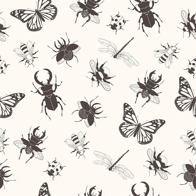昆虫とのシームレスなパターン。 Premiumベクター