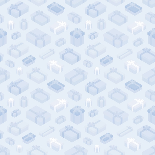 Seamless pattern with the isometric gift boxes Premium Vector