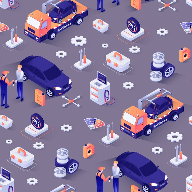 Seamless pattern with isometric icons of cars Premium Vector