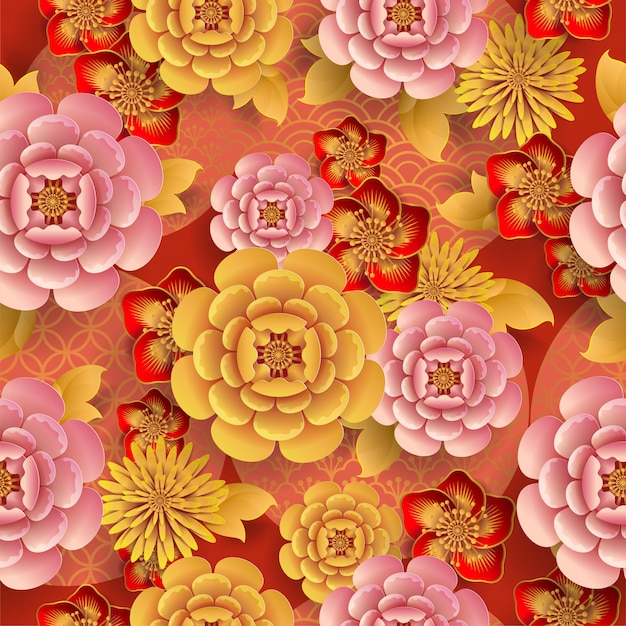 Seamless pattern with japanese elements Premium Vector