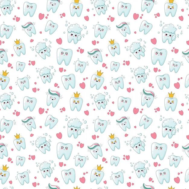 Seamless pattern with kawaii teeth Premium Vector