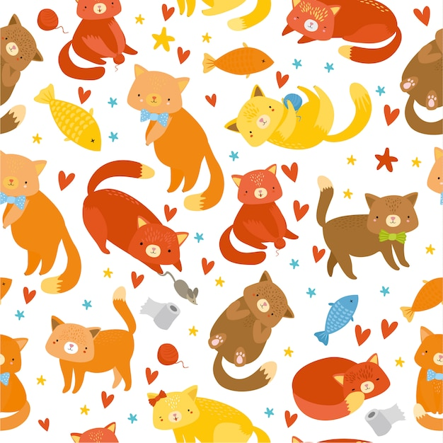 Seamless pattern with kittens on white background Free Vector