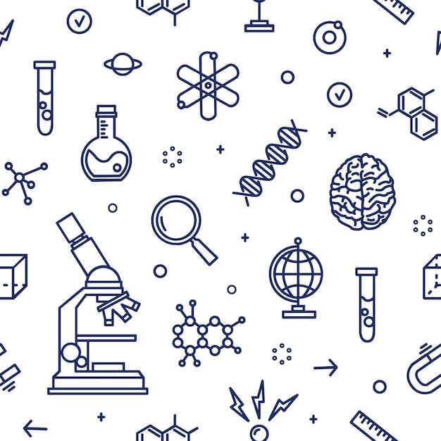 実験装置、科学、科学実験、白い背景の輪郭線で描かれた研究の属性とのシームレスなパターン。ラインアートスタイルの白黒イラスト。 Premiumベクター