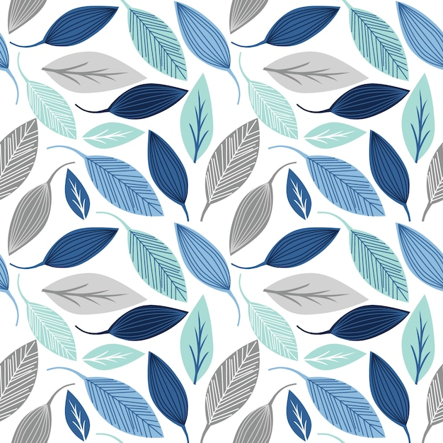 Seamless pattern with leaf blue and silver color Premium Vector