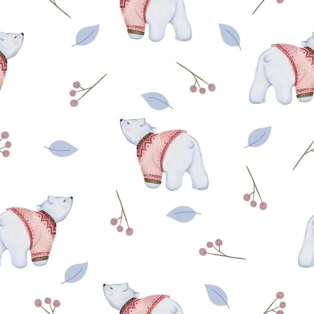 잎과 곰 수채화 겨울 원활한 패턴 무료 벡터