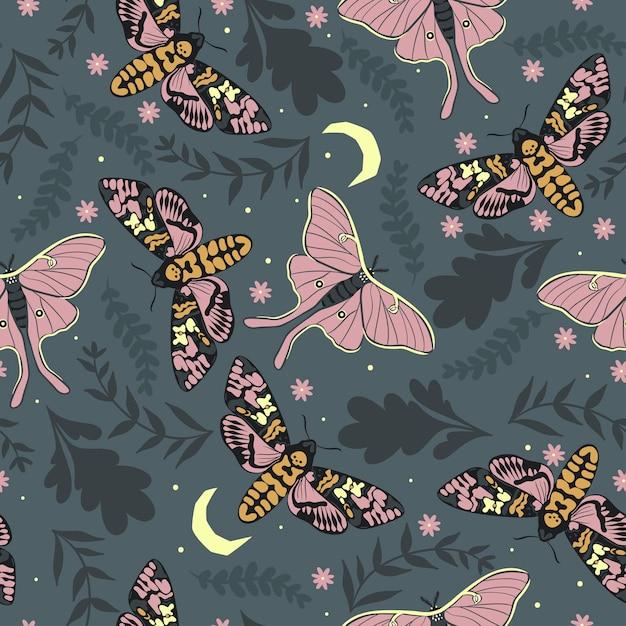 葉と蛾とのシームレスなパターン。 Premiumベクター