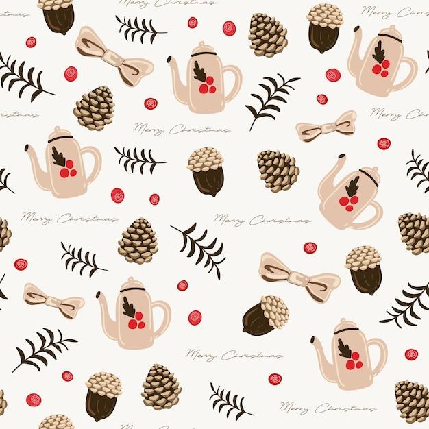Бесшовный фон с листьями, миской, чайником и сушеными сосновыми шишками Бесплатные векторы