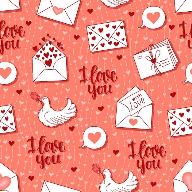 Бесшовный фон с буквами, сердечками, голубь фоновой иллюстрации Premium векторы