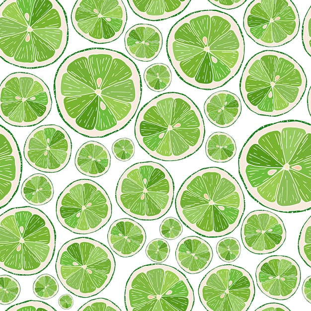 Seamless pattern with lime slices Premium Vector