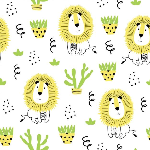 ライオンと手描きの要素とのシームレスなパターン。 Premiumベクター