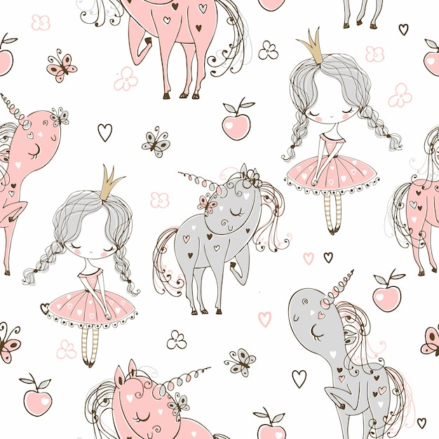 Seamless pattern with little princesses and unicorns. Premium Vector