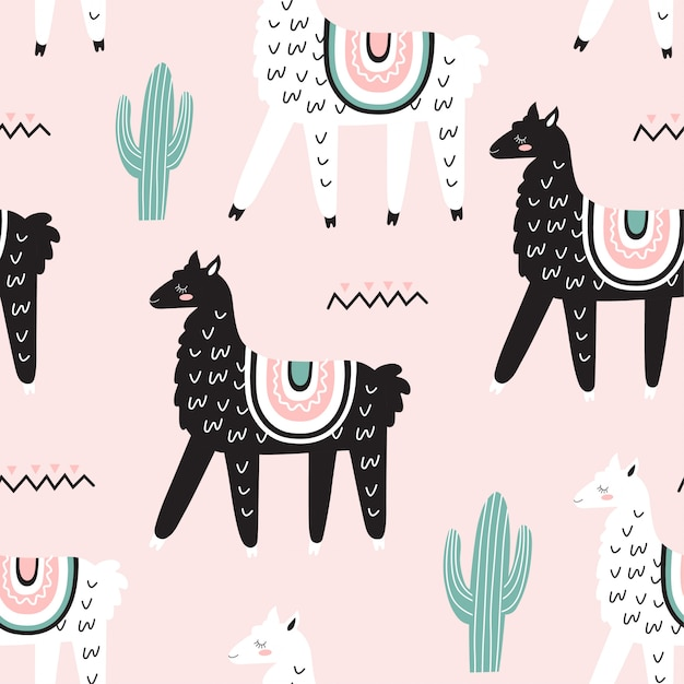 Seamless pattern with llamas Premium Vector