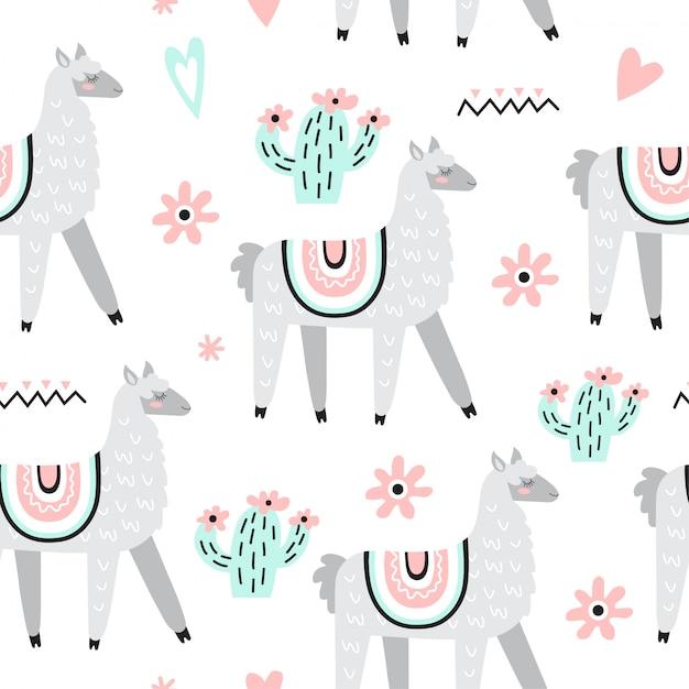 Seamless pattern with llamas Premium Vector