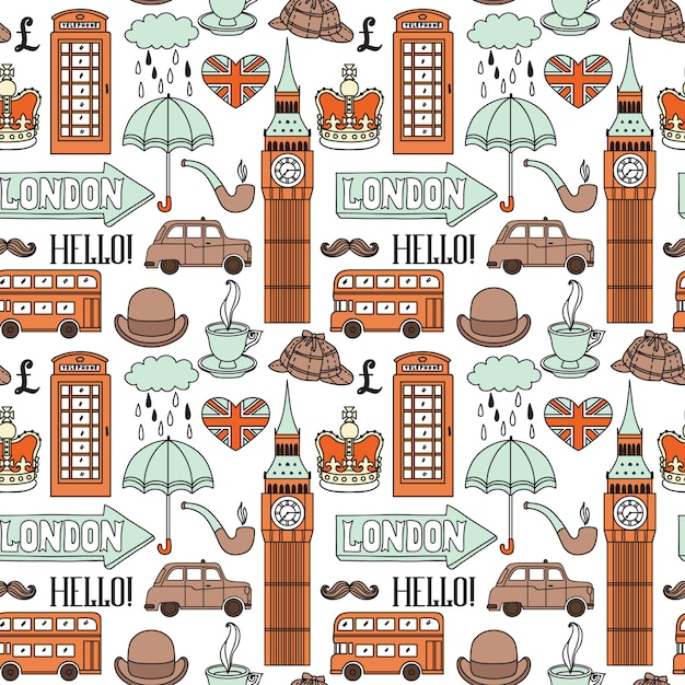 Seamless pattern with london elements and landmarks Premium Vector