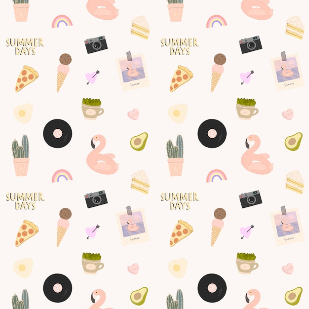 Seamless pattern with a lot of beach and summer elements Premium Vector