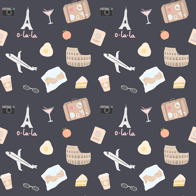 Seamless pattern with a lot of travel elements such as the eiffel tower Premium Vector