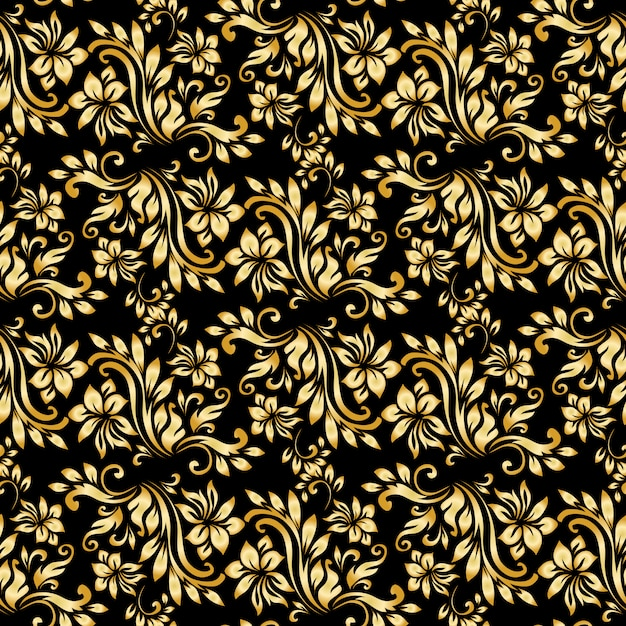 Seamless pattern with luxury damask ornament on the black background. Free Vector