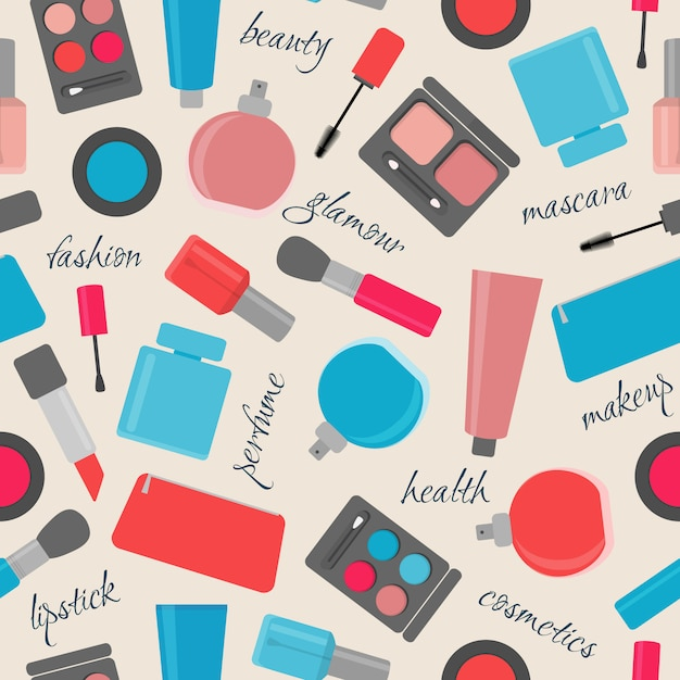 Seamless pattern with makeup and cosmetic items Premium Vector