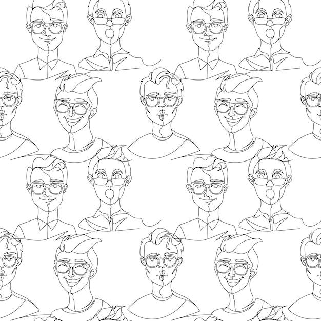 안경 초상화 한 라인 아트에서 남자와 완벽 한 패턴 프리미엄 벡터