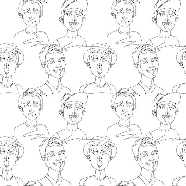남자 초상화 한 라인 아트와 완벽 한 패턴 프리미엄 벡터