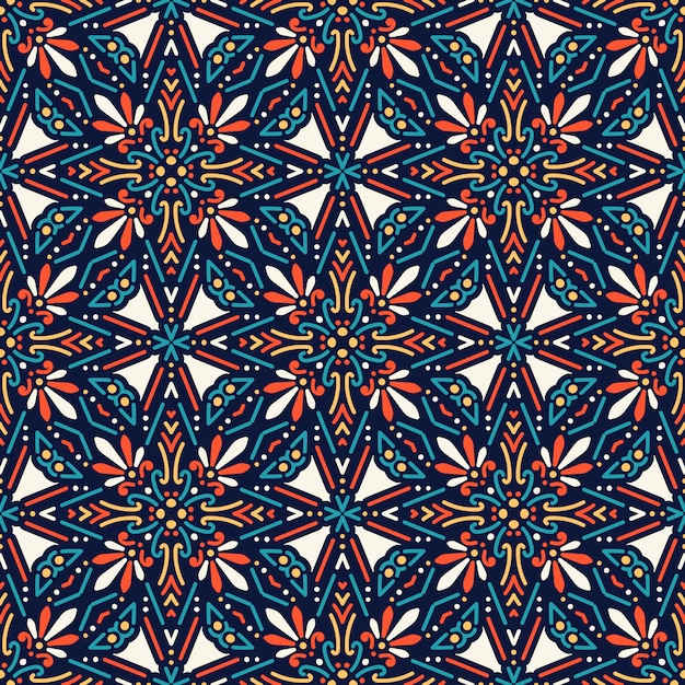 Seamless pattern with mandala Free Vector