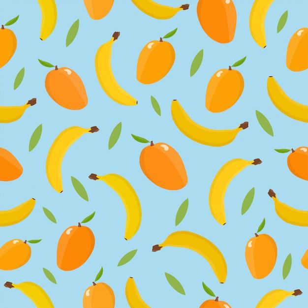 Seamless pattern with mango and banana. Premium Vector