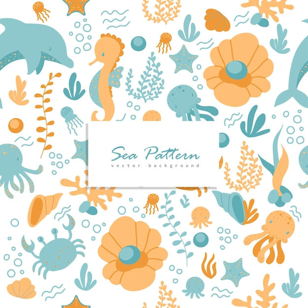 Seamless pattern with marine animals Free Vector