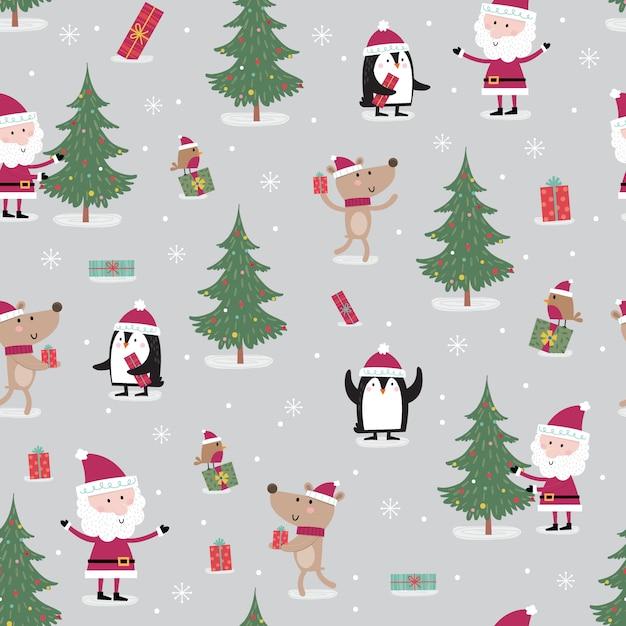 Seamless pattern with meeting between cute santa claus Premium Vector