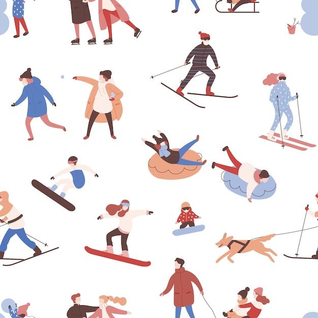 冬のアクティビティを実行する男性、女性、子供とのシームレスなパターン。 Premiumベクター