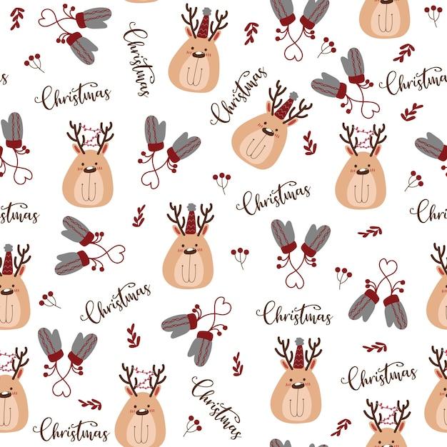 메리 크리스마스 아이콘으로 완벽 한 패턴입니다. 무료 벡터