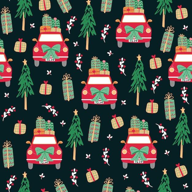 Бесшовный фон с иконой с рождеством. Бесплатные векторы