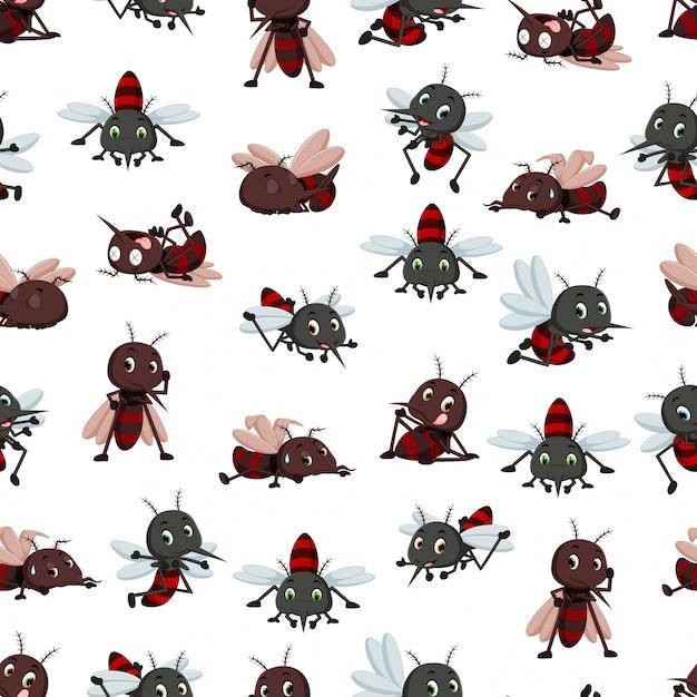 Seamless pattern with mosquito cartoon Premium Vector