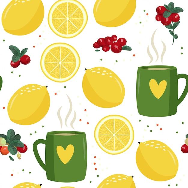 Seamless pattern with mug, lemon and cranberries. Premium Vector